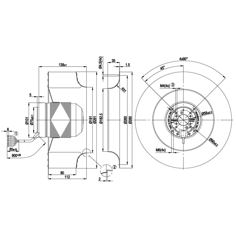 Размеры вентилятора EbmPapst R2E280-AF07-09