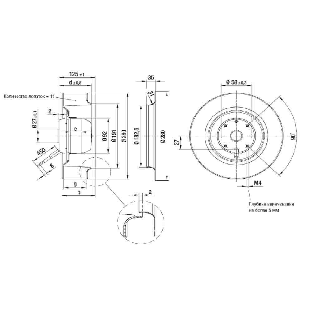 Чертеж вентилятора R2E280-AE52-05