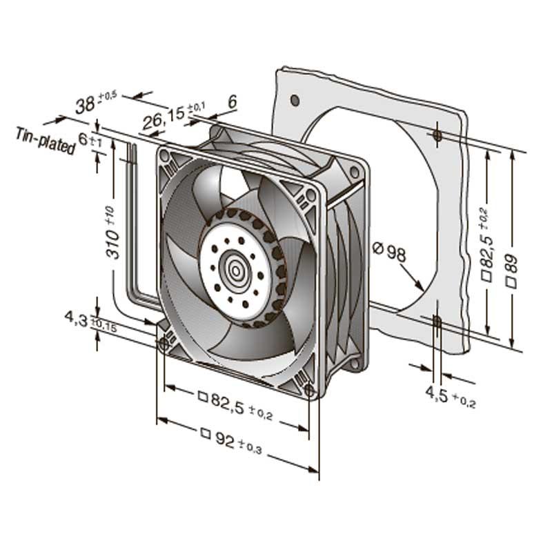 Размеры вентилятора 3212JH